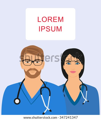 illustration of male and female doctor with stethoscope - stock vector