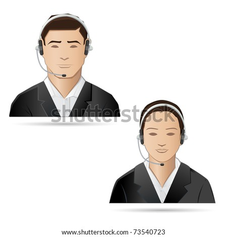 illustration of male and female executive of call center - stock vector
