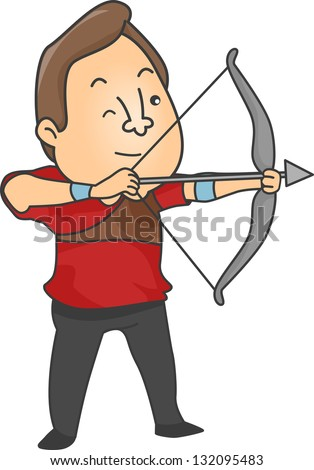 Illustration of Male Archer aiming a bow and arrow - stock vector