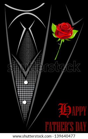 illustration of man in suit with red rose tucked in Happy Father's Day - stock vector