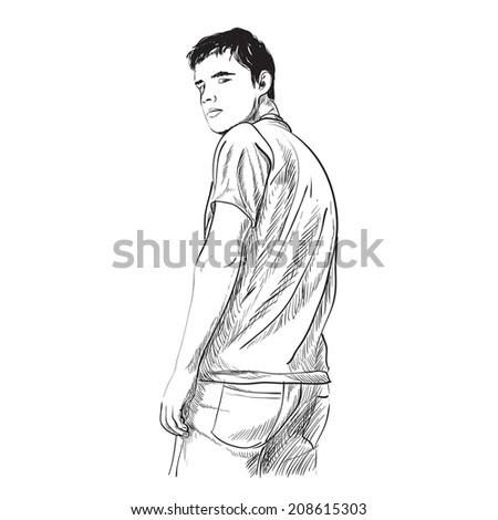 Illustration of man on white background - stock vector