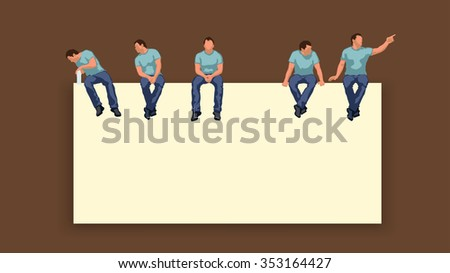 illustration of man sitting silhouette in different poses - stock vector