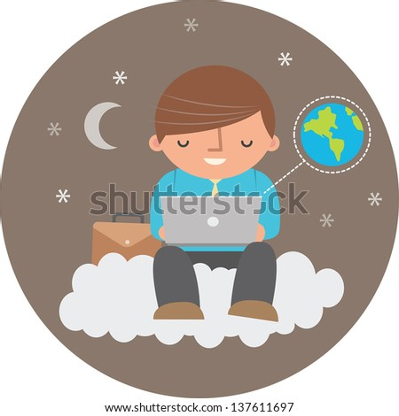 Illustration of man using cloud computing at night - stock vector
