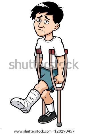 Girl broken leg cartoon