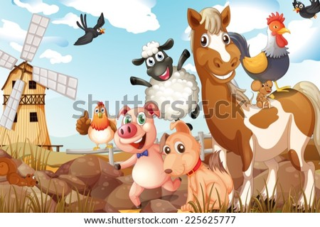 Illustration of many animals in a farm - stock vector