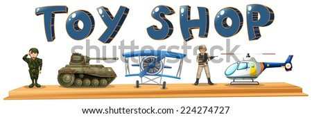 Illustration of many army toys - stock vector