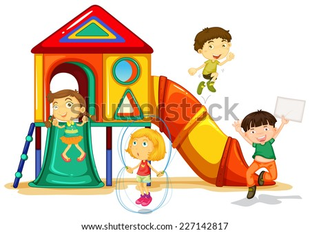 illustration of many children playing on a slide - stock vector