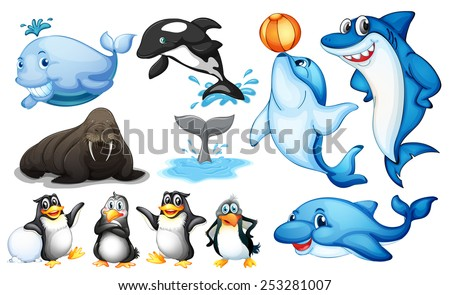 Illustration of many kind of sea animals - stock vector