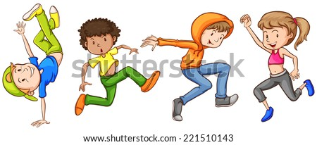 Illustration of many teenagers dancing - stock vector