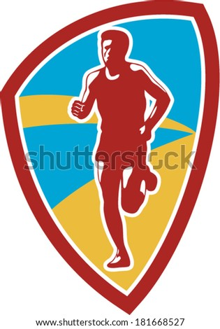 Illustration of marathon triathlete runner running facing front view set inside shield crest on isolated done in retro style. - stock vector