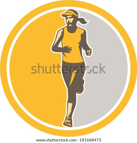 Illustration of marathon triathlete runner running winning finishing race set inside circle on isolated background done in retro style. - stock vector