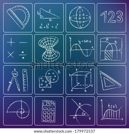 Illustration of mathematics icons - white chalky doodles - stock vector
