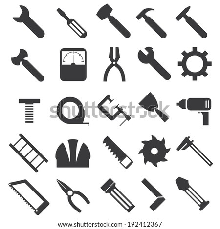 illustration of mechanical equipment icons set - stock vector