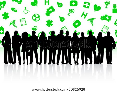 Illustration of medical background and people - stock vector