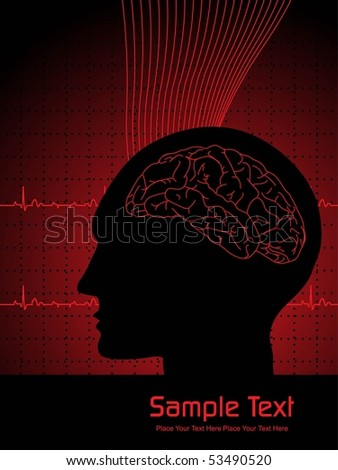 illustration of medical background with human brain - stock vector