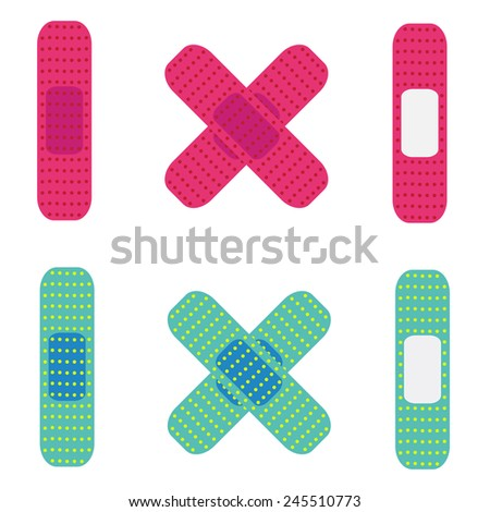 illustration of medical bandage,colorful Plaster - stock vector