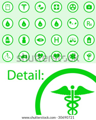 Illustration of medical buttons - stock vector