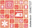 illustration of medical icon on abstract collage background - stock vector