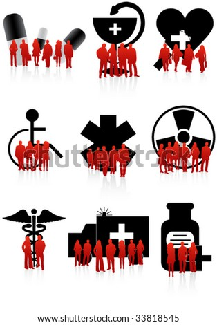 Illustration of medical icons and people - stock vector
