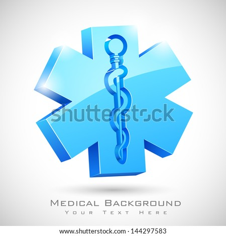 illustration of medical symbol with serpent and stick - stock vector