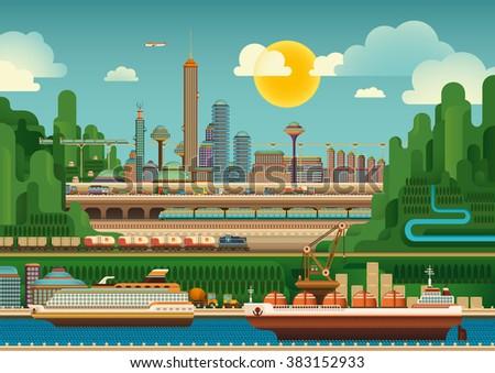 Illustration of mega city. Vector illustration. - stock vector
