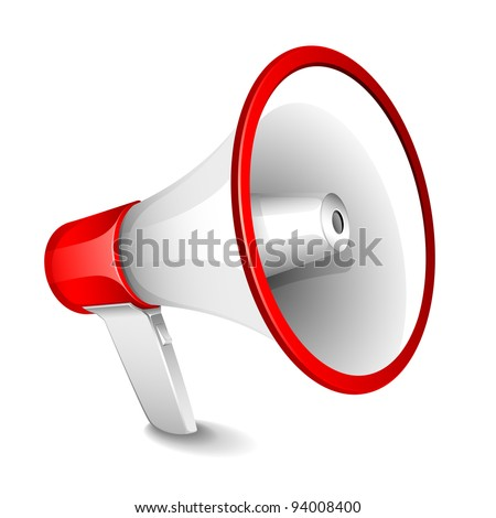 illustration of megaphone on plain white background - stock vector