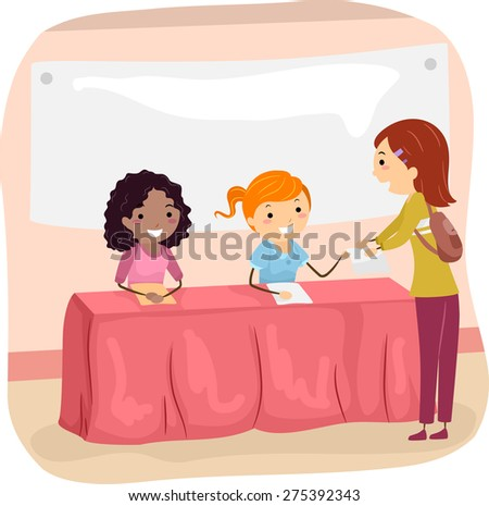 Illustration of Members of a School Club Recruiting New Members - stock vector