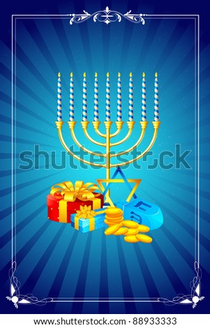 illustration of menorah candle with gift box for shabbat - stock vector
