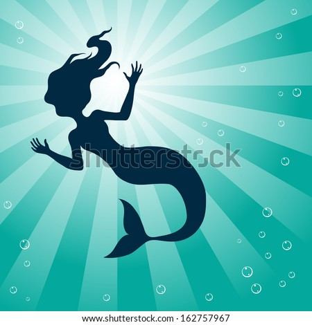 Illustration of Mermaid Underwater isolated on a white background - stock vector