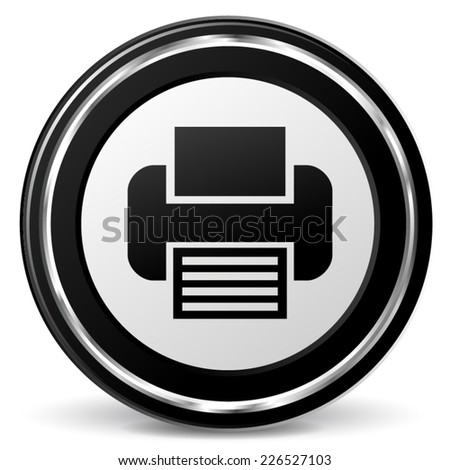 Illustration of metal round icon for print - stock vector