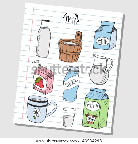 Illustration of milk colored doodles on lined paper - stock vector