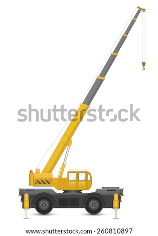Illustration of mobile crane isolated on white background. - stock vector