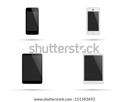 Illustration of modern smartphones and tablets with black and white surrounds and blank screens with copyspace isolated on white - stock vector