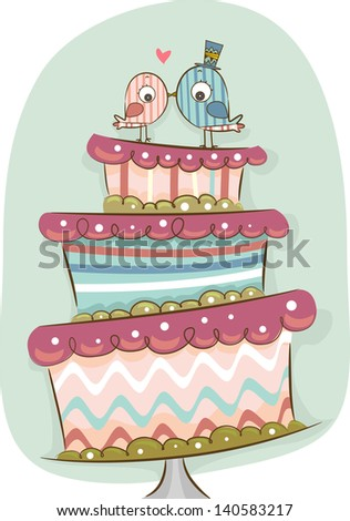 Illustration of Modern Wedding Cake in Retro Colors with Bride and Groom Birds - stock vector