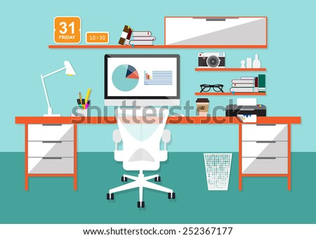 Illustration of modern workplace in room. Creative office workspace . Flat minimalistic style - stock vector