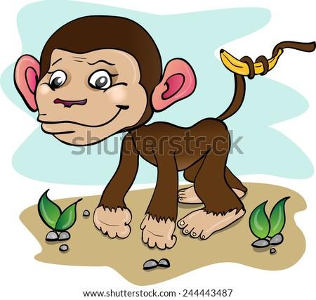 illustration of monkey. African animals - stock vector