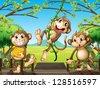 Illustration of monkeys at the wooden bridge - stock vector