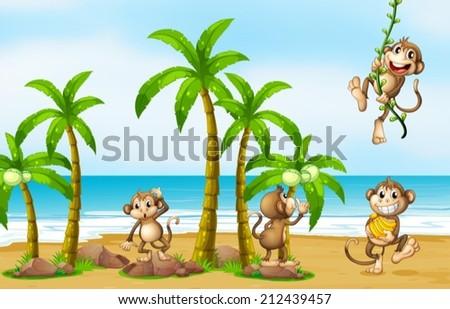 Illustration of monkeys on the beach - stock vector