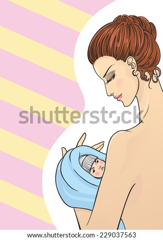 Illustration of mother and child. Mother holding a baby. Illustration of mothers day. - stock vector