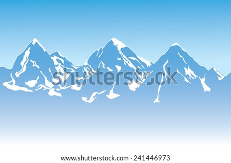 Illustration of Mountain Landscape with Snow. Vector illustration. - stock vector