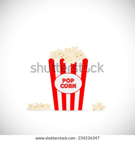 Illustration of movie popcorn illustration isolated on a white background. - stock vector