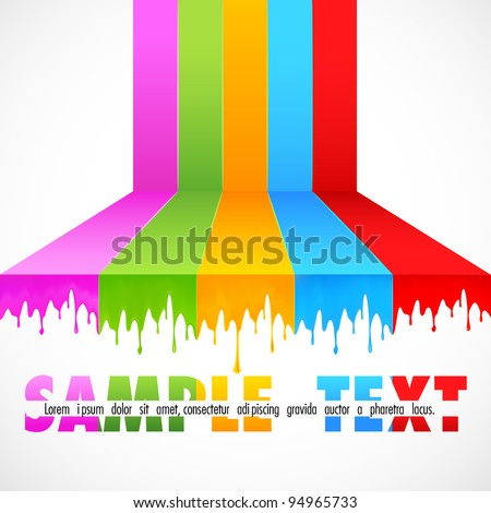 illustration of multicolor paint dripping on abstract background - stock vector