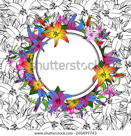 Illustration of Multicolored Lily Flower Round Frame, Copyspace - stock vector