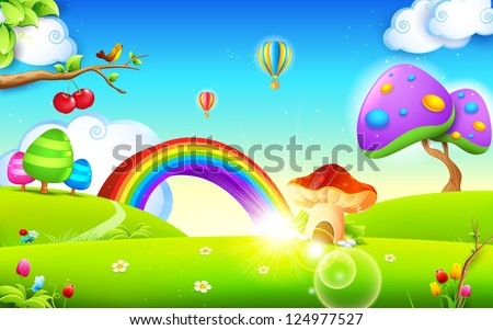 illustration of mushroom homes in spring season - stock vector