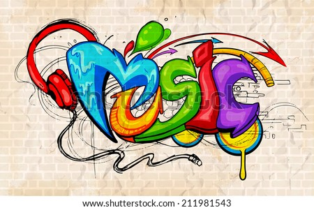 illustration of music background graffiti style - stock vector