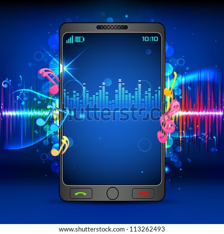 illustration of music beats coming out of mobile phone - stock vector