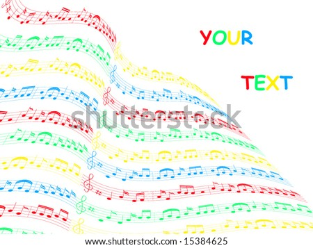 Illustration of music card - stock vector
