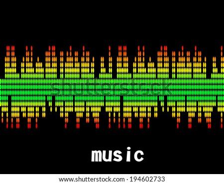 illustration  of music colorful equalizer bar on black background. Vector. Eps10 - stock vector