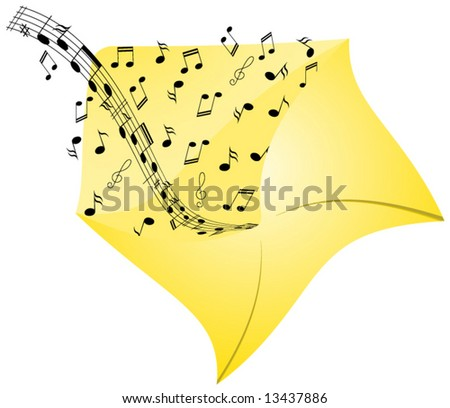 Illustration of music from envelope - stock vector