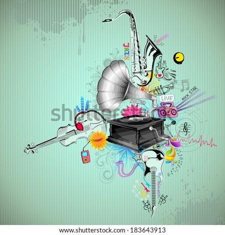 illustration of music instrument on retro background - stock vector